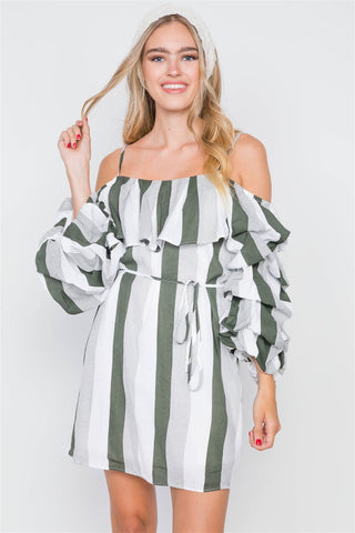 Puff-sleeve Stripe Cami Boho Dress