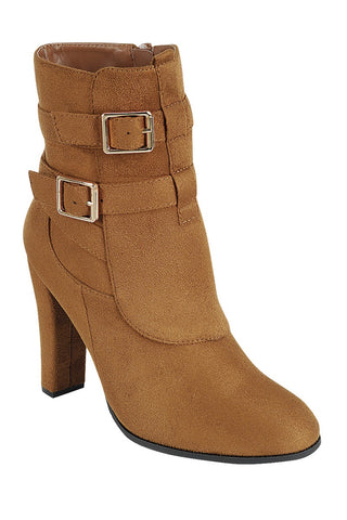 Ladies fashion bold metal buckles ankle boot, closed almond toe, block heel, zipper closure