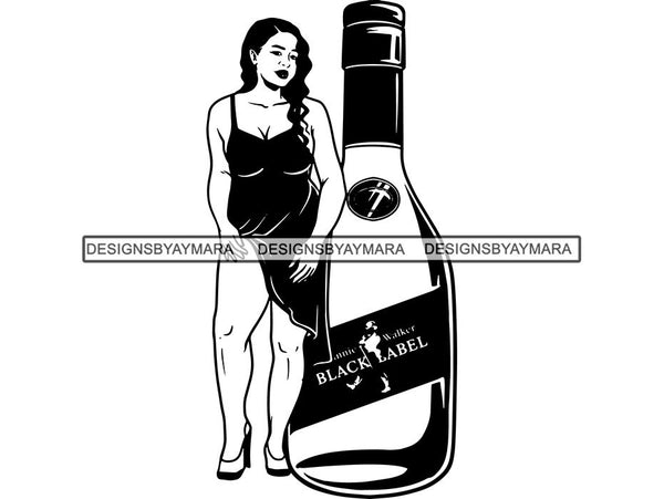 Whiskey Goddess Black Woman Sexy Melanin Nubian Liqueur Beverage Alcohol SVG Cut Files For Silhouette and Cricut