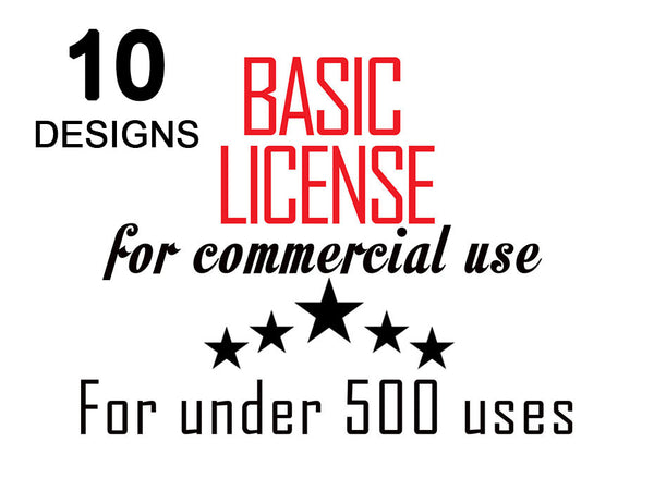 10 Designs Basic Commercial License for Commercial Use of Patterns Graphic Design - 500 prints / usage