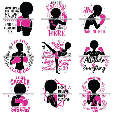 Bundle 9 Strong Afro Woman SVG Cancer Survivor Cutting Files For Silhouette Cricut and More