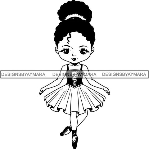 Afro Black Ballerina Baby Girl Ballet Dancer .SVG Cut Files For Silhouette and Cricut