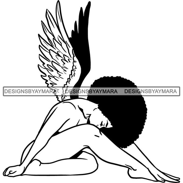 Afro Angel Black Woman SVG Cutting Files For Silhouette Cricut and More
