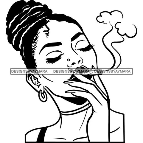 Afro Woman Smoking Pot Blunt Joint Goddess Hot Seller Design SVG Cutting Files