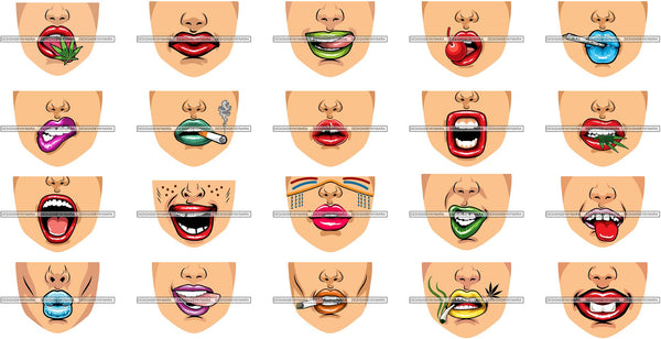 Bundle 20 Funny Half Face Cute Designs For Mask Virus Protection SVG Cutting Files