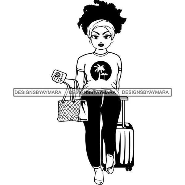 Lola Afro Beautiful Black Proud Woman Traveling .SVG Cutting Files For Silhouette and Cricut and More!