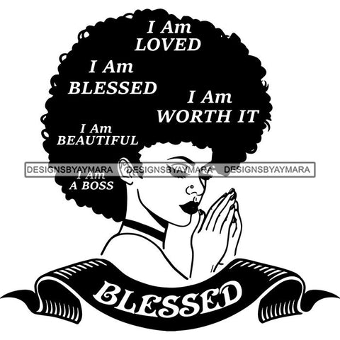 Afro Woman Praying Goddess Hot Seller Design SVG Cutting Files