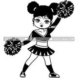 Afro Cheerleader Woman SVG Cutting Files For Silhouette Cricut and More