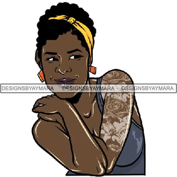 Afro Woman Tattoo Sexy Melanin Nubian Goddess PNG Files For Print Not For Cutting
