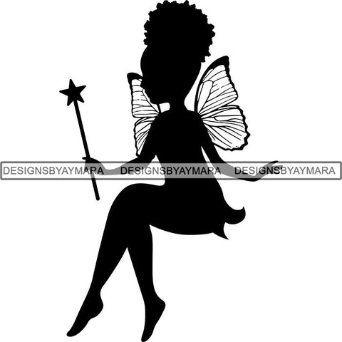 Afro Cute Baby Girl Fairy Wings Fantasy .SVG Cut Files For Silhouette Cricut and More