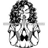 Afro Lola Praying God Lord Prayers In God We Trust .SVG Clipart Cutting Files For Silhouette and Cricut and More!