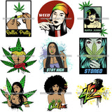Bundle 9 420 Cannabis Pot Head Weed Leaf Grass Marijuana Joint Blunt Stoned High Life SVG Cutting Files