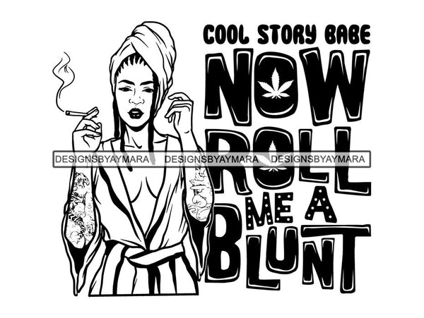Woman Smoking Pot Deadlock Braids Hairstyle Rasta Queen Blunt Weed Cannabis 420 Marijuana Stoner High Life .SVG Cut File For Silhouette and Cricut
