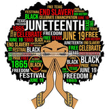 Juneteenth Afro Woman Praying June 19 Quotes Emancipation Freedom Holiday SVG Vector Cut Files