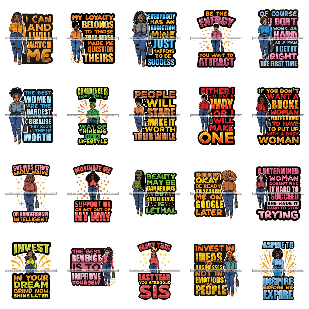 Bundle 20 Afro Lola Boss Lady Quotes Svg Cutting Files For Silhouette And Cricut And More