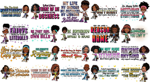 Bundle 20 Afro Lola Life Quotes Fashion Girl Woman Melanin Popping Ebony Queen .SVG Cutting Files