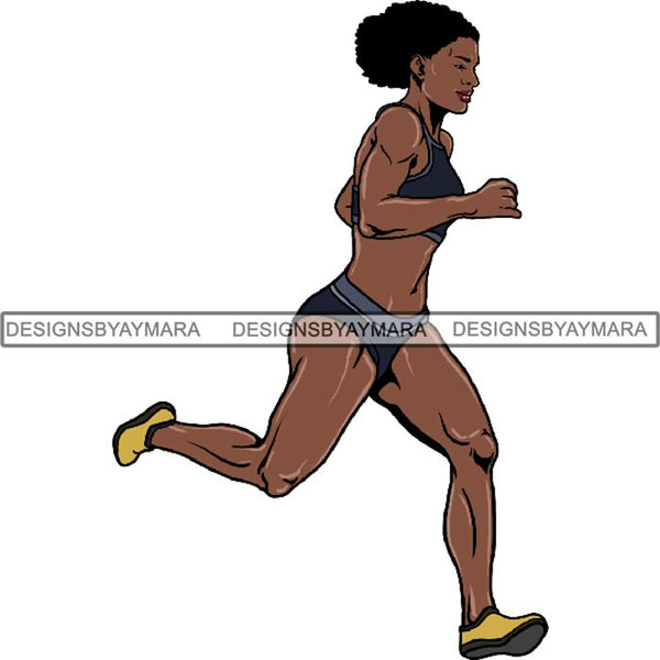 Afro Black Woman Runner Sprinting Athletic Sport .PNG Print File Not For Cutting