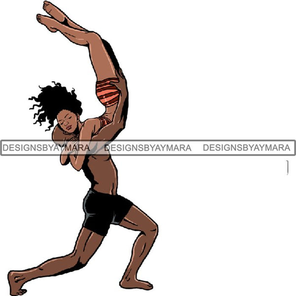 Afro Black Ballerina Woman Ballet Dancer .PNG Print File Not For Cutting