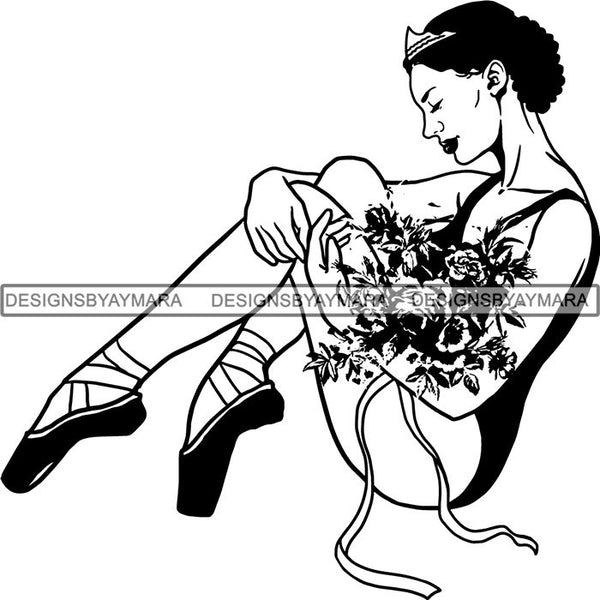 Afro Black Ballerina Woman Ballet Dancer .SVG Cut Files For Silhouette and Cricut