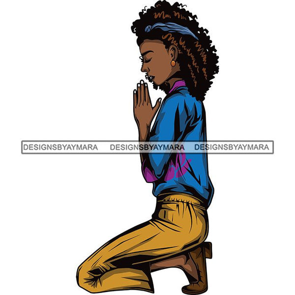 Afro Lola Woman Praying God Lord Knee Prayers Pray Believe Church .SVG PNG JPG Clipart Vector Cutting Files