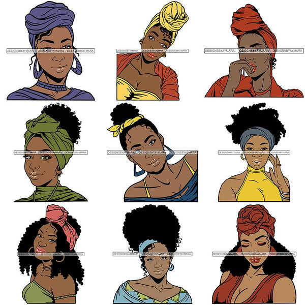 Bundle 9 Afro Woman SVG Turban Head Wrap Cutting Files For Silhouette Cricut and More