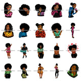 Bundle 20 Afro African Lady Pretty Face Goddess Glamour Fashion Vector SVG Cutting Files