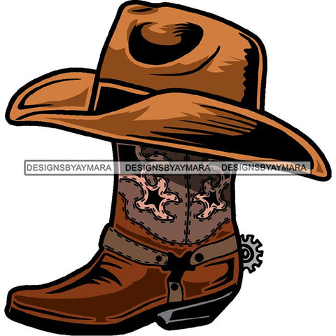 Cowboy Boots Leather Hat Glamour Western Hot Sellers Designs .SVG Cutting Files