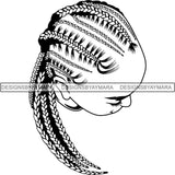 Afro Woman Braids Dreads Dreadlocks Hairstyle SVG Cut Files For Silhouette and Cricut