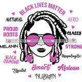 Afro Lola Boss Lady Black Lives Matter Quotes Dope Diva Glamour Wearing Glasses Accesories .SVG Cut Files