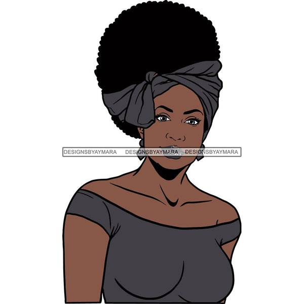 Afro Woman SVG Turban Head Wrap Cutting Files For Silhouette Cricut and More