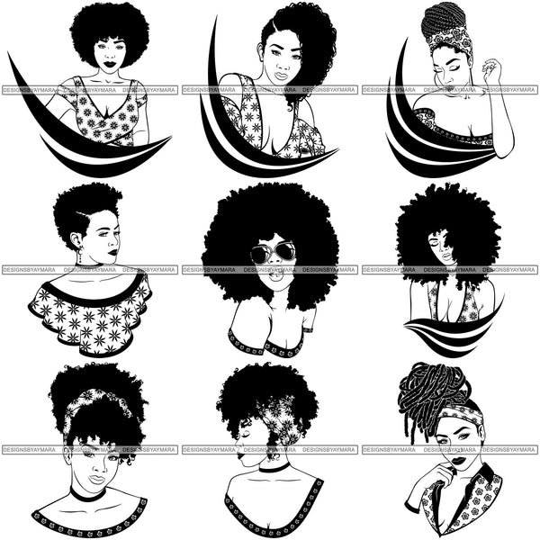 Bundle 9 Afro Woman SVG Cut Files For Silhouette and Cricut