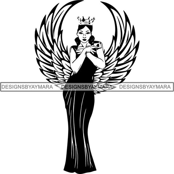 Afro Sexy Goddess Melanin Woman Queen Tattoo SVG Cut Files For Silhouette and Cricut