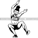 Afro Black Woman Runner Athletic Sport .SVG Cutting File For Silhouette and Cricut