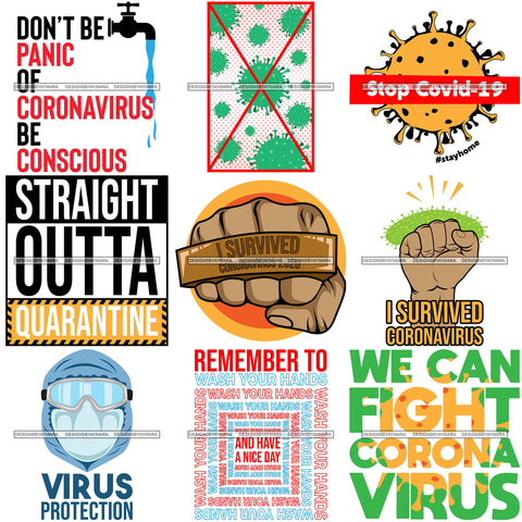 Bundle 9 Coronavirus Medical Epidemic Disease Virus Health Pandemic Illness Quotes SVG Cutting Files