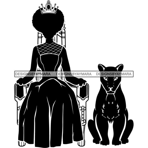 Afro Queen Silhouette SVG African Goddess Cutting Files 1