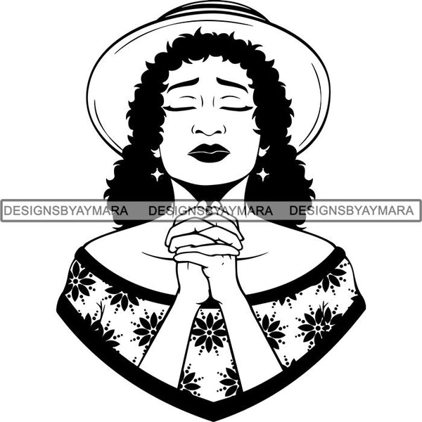 Latina Woman Praying God .SVG Cut Files For Silhouette and Cricut