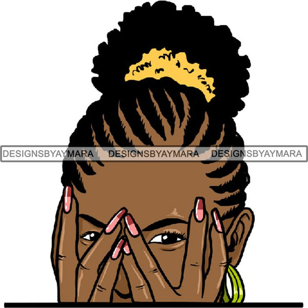 Afro Woman Peeking Peek-a-Boo I see You Melanin Pretty Half Face PNG File For Print Not For Cutting