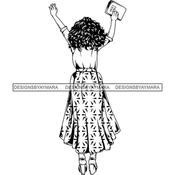 Afro Lola Praying Begging Asking God Lord Faith Strength .SVG Vector Clipart Cutting Files For Silhouette Cricut and More!