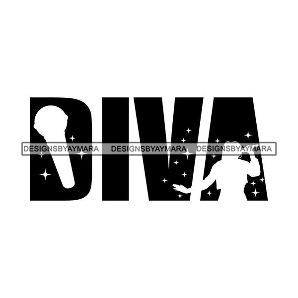 Black Queen Afro Woman Silhouette Designs Goddess Praying Blessed Life Diva SVG Files For Cutting and More!
