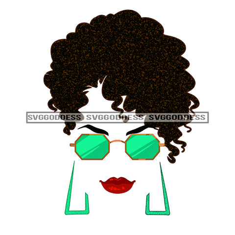 Silhouette Of Black Woman In Green Sunglasses JPG PNG  Clipart Cricut Silhouette Cut Cutting