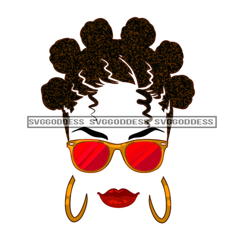 Silhouette Of Black Woman In Gold And Red Sunglasses JPG PNG  Clipart Cricut Silhouette Cut Cutting