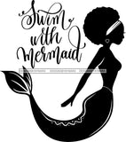 Afro Black Woman Mermaid Aquatic Creature  SVG Cutting File For Silhouette and Cricut