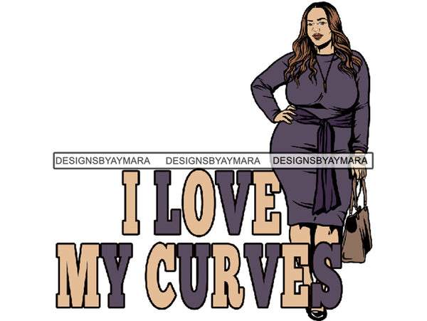 Plus Size Curvy Woman Thick Goddess BBW African American Ethnicity Queen Diva Classy Lady .SVG .PNG .JPG Vector Clipart Not For Cutting