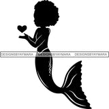 Afro Cute Baby Girl Mermaid Fantasy .SVG Cut Files For Silhouette Cricut and More