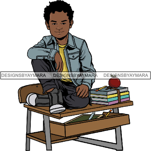 Back to School Kid Student Education Supplies .PNG Print File Not For Cutting