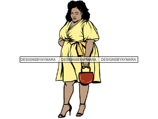Afro Thick BBW Woman African American Ethnicity Queen Diva Classy Lady Beautiful Big And Bougie  PNG JPG EPS Vector Clipart
