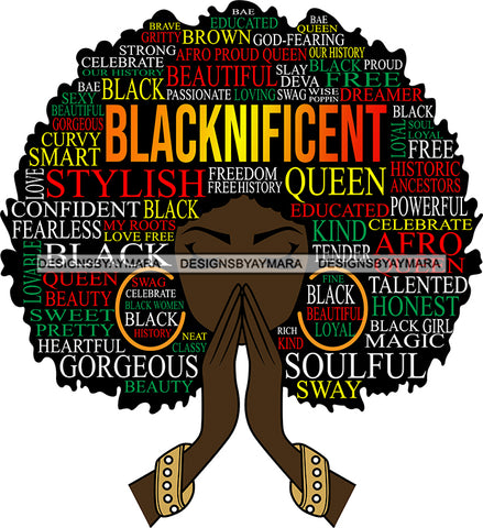 Afro Woman Praying Quotes Blacknificent Stylish Queen Educated Soulful SVG Vector Cut Files