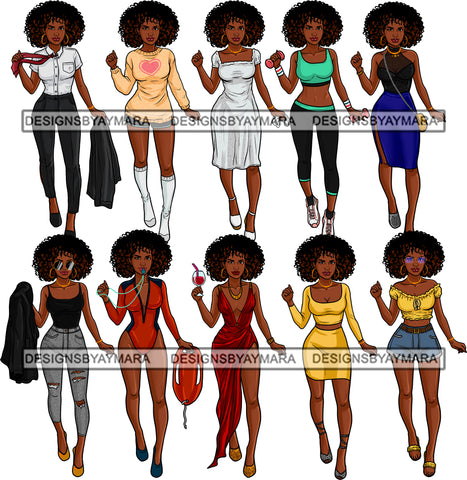 Bundle 10 Afro Woman Different Outfits Fashion Glamour Melanin Nubian Ebony JPG PNG Files For Silhouette Cricut and More