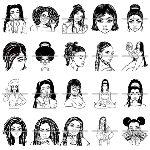Bundle 20 Asian Ladies Sneak Eyes White Skin Pretty Face Chinese Model SVG JPG PNG Vector Designs Clipart For Cricut Silhouette Cut Cutting and More!