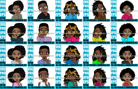 Bundle 20 Afro Cute Lili Big Eyes Designs For Commercial And Personal Use Black Girl Woman Nubian Queen Melanin SVG Cutting Files For Silhouette Cricut and More